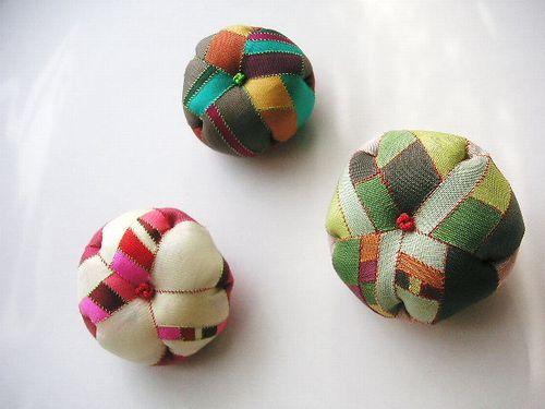 Pojagi pincushion Korean silk patchwork