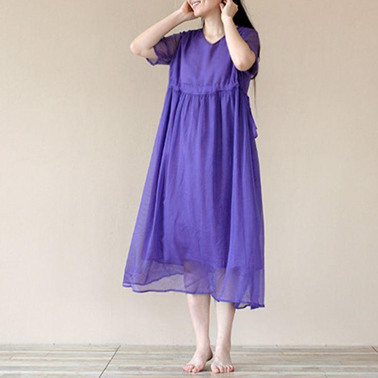 Women summer short sleeve Tencel  dress