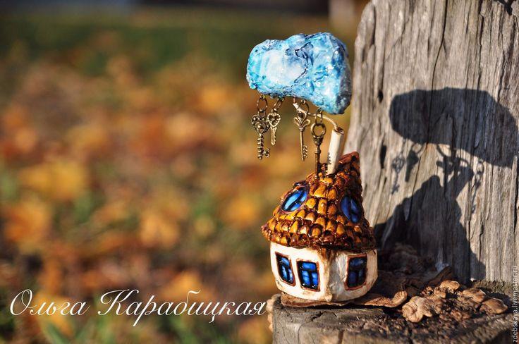 Купить Ключик-тучка. - желтый, осень, рыжий, золотой, дом, домик, туча, дождь, сувенир