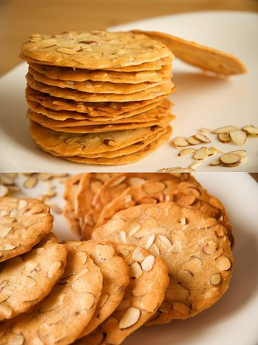 Almond tuile    These crispy cookies are extremely easy to bake, all you need is flour, egg whites, sugar, oil and nuts.