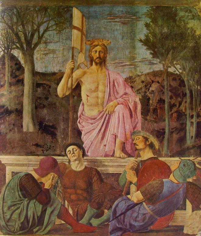 Piero della Francesca - Resurrezione di Cristo - affresco - 1463-65 - Pinacoteca comunale di Sansepolcro.