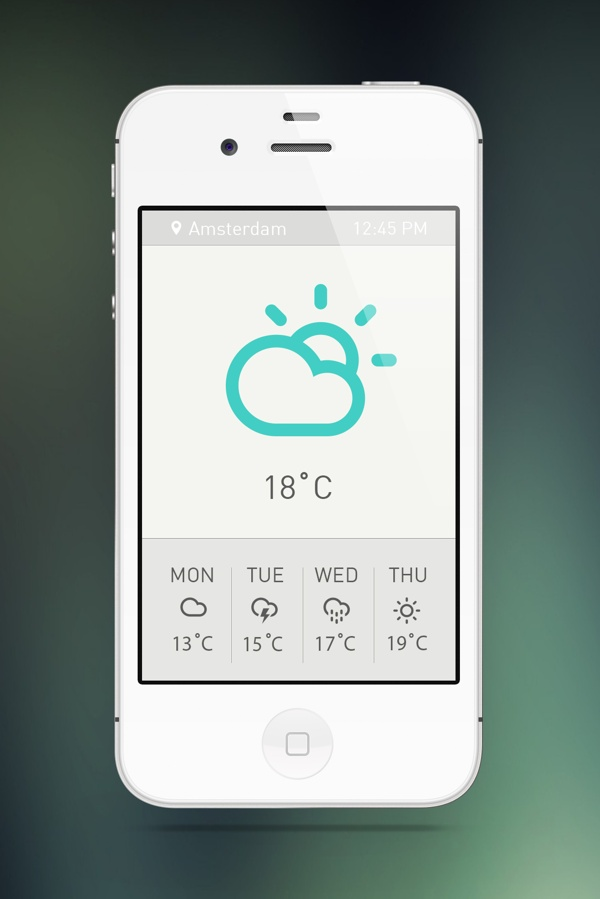 Weather App Minimal Concept by Sanja Veljanoska, via Behance