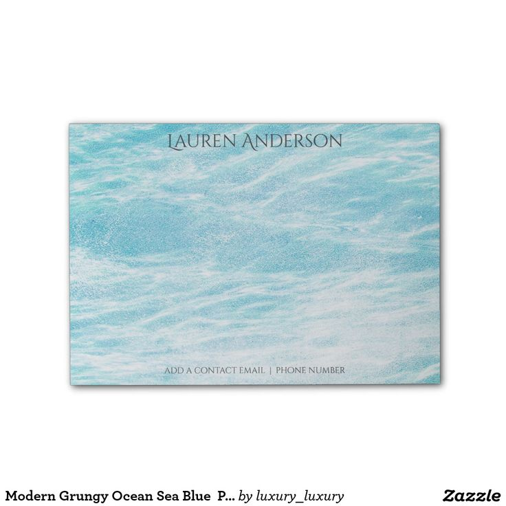 Modern Grungy Ocean Sea Blue  Personalized Post-it® Notes