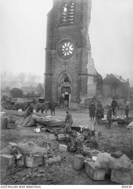 WWI, Dec 1916; Australian supply depot outside ruined church at Becordel, near Albert, Somme Front