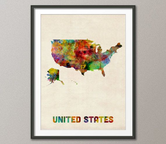 United States Watercolor Map, USA, Art Print - 12x16 to 24x36 inches (447)