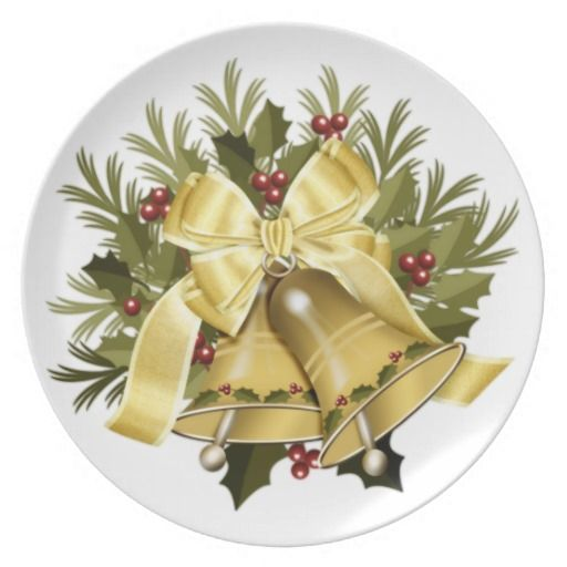 Deep Cream Christmas Bells Holiday Dinner Plate