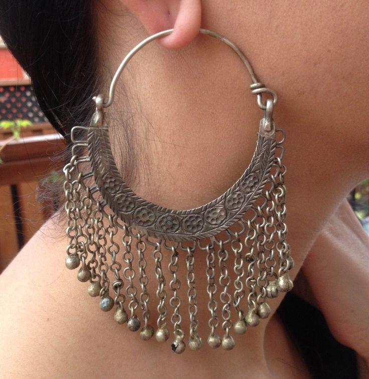 Vintage Hoops, Earring-Kochi Jewelry, Tribal Jewelry,Tribal Earring,Old Banjara Earring-Middle Eastern Earring-Handmade vintage Earring by JewelsofNomads on Etsy