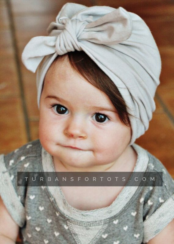 Light Gray baby turban hat with bow by turbansfortots on Etsy