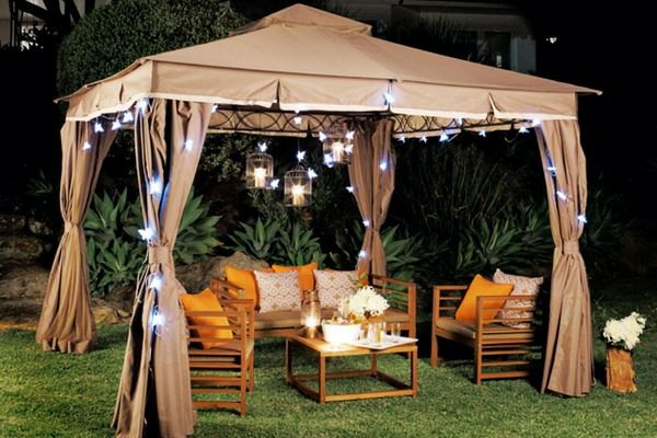 Gartenlaube romantische Beleuchtung  Schmetterlinge LED Kerzen