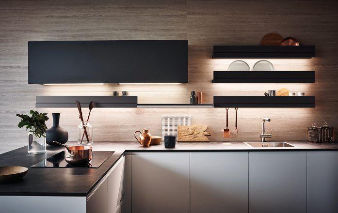 Light silk-effect Bianco lacquer Bronzite melamine #CesarKitchen #design #interiors #kitchen