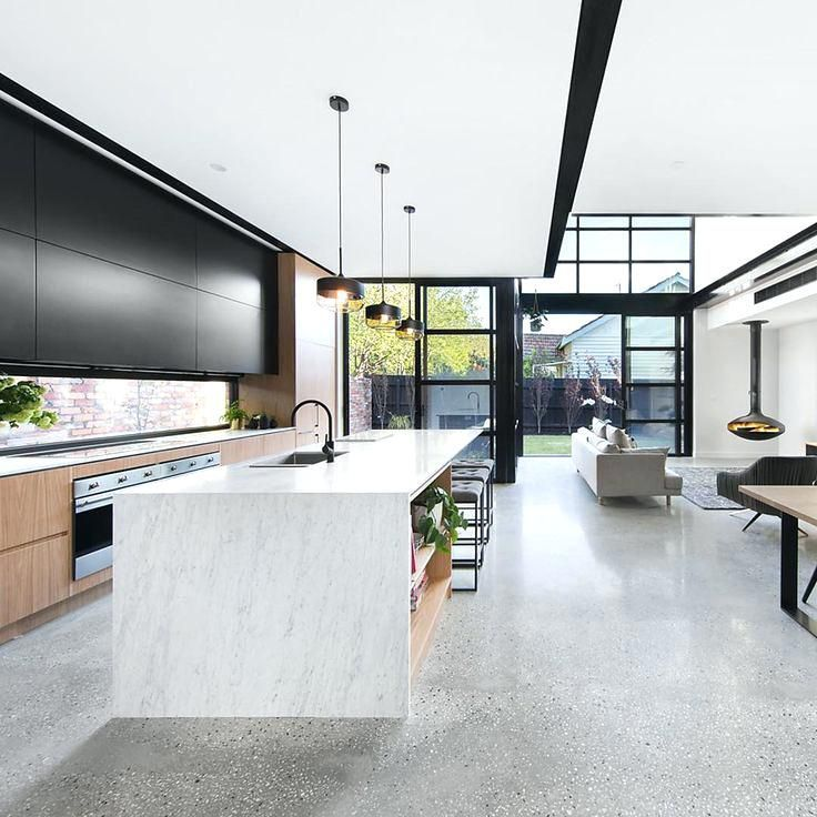 Polished Cement Floors Concrete Floor Modern Kitchen Design Interior Design Kitchen Concrete Kitchen