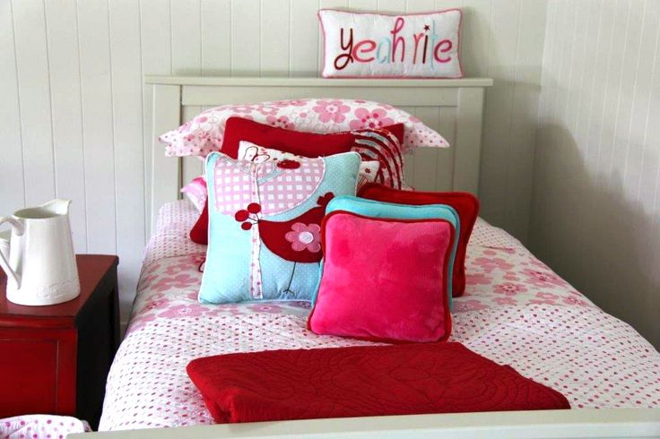 Seriously, pink can be mixed with so many colours. Look at Millie linen with some aqua & red. No Rules!!!  #patersonrose #girlslinen #girlsrooms #girlsbedroomdecor #kidsduvet #kidsdecor #kidscushions