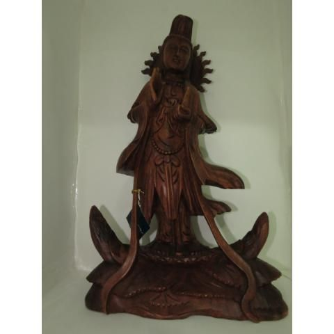 Buda Konin Escultura  Estatueta Madeira Esculpido 0,60 Cm