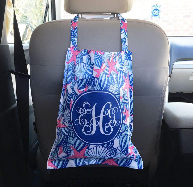 Car Trash Bag Monogrammed Car Organizer Custom Car Trash Can Lilly Inspired Preppy Personalized Cute Car Accessories For Women Car Decor by ChicMonogram on Etsy
