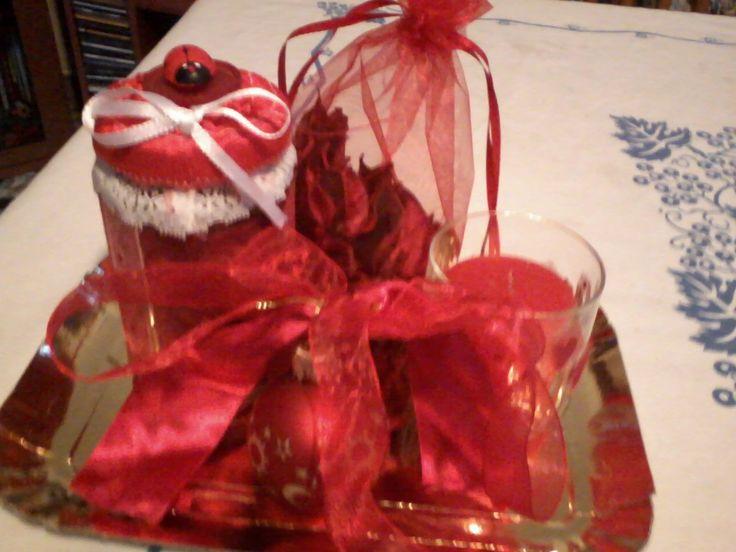 barattolo porta pot-puorri, porta candela e sacchettino decorati a mano in tessuto e pizzo versione natalizia