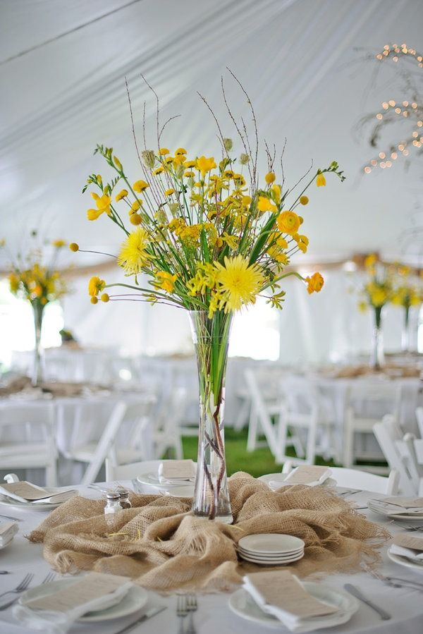 Simple and Lovely Centerpieces. Imagine them in your colors with perhaps a few peacock feathers.
