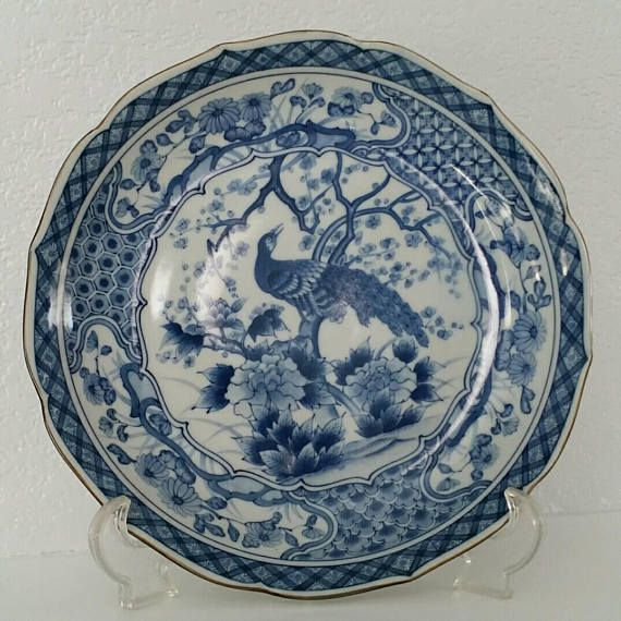 Imari Vintage Japanese Blue White Peacock Bowl 10 Vintage