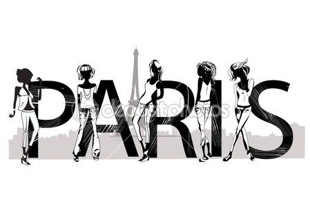 Paris lettering with fashion girls