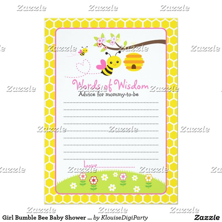 Girl Bumble Bee Baby Shower Words of Wisdom Card