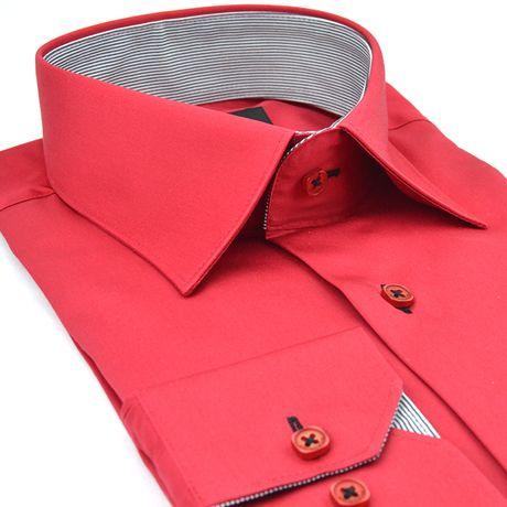 Chemise italienne rouge slim fit Méadrine - Kadice
