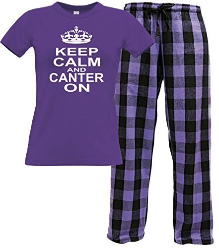 Purple Women's T-Shirt & Violet Black Long Pants 'KEEP CALM AND CANTER ON' with White Print.