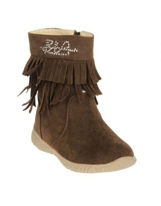 Take advantage of being able to dress your kiddies in style and security with the Bubblegummers collection of booties. This pair of Mid-Calf Boots, in brown, has two layers of tassles and is a great addition to any little girl\'s shoe collection. The wonderful bubblegum scent that emanates from these shoes is a definite attraction and will leave your child super-excited. The glittery details add an extra bit of glam, whilst the side-zippers ensure the perfect fit. Dress your baby in these…