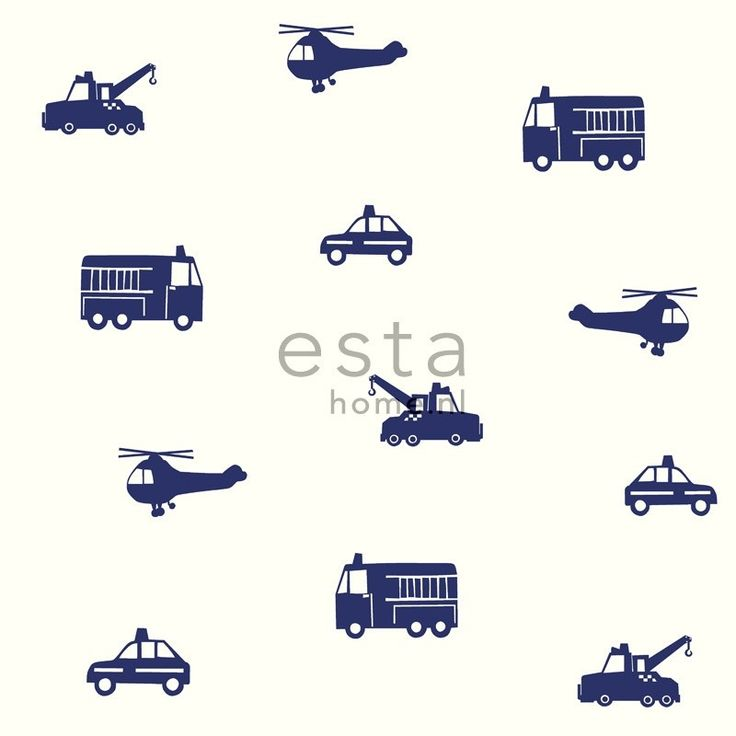Esta Giggle 137321 blauw wit politie auto ambulance helikopter behang