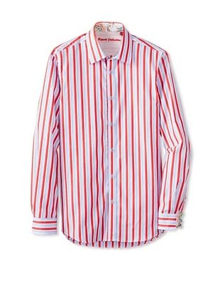 68% OFF Report Collection Men's Long Sleeve Stripe Shirt (Red)