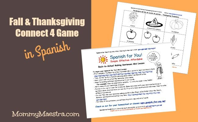 FREE Spanish Fall & Thanksgiving Connect 4 Game PLUS AUDIO! Just download, print, & go! No experience needed. Use at home or in a class. Get it here: http://www.mommymaestra.com/2016/11/free-download-thanksgiving-connect-four.html