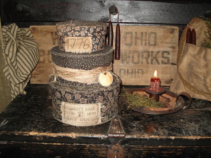 Primitive Americana Pantry Box Stacking Nesting Civil War