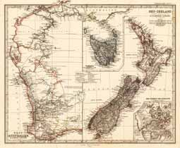 Antique Map West-Australia and New Zealand Stieler, Adolph 1864