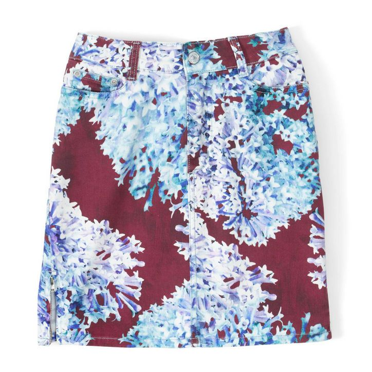 I usually wouldn't go for something like this, but its just so cute! Burgundy and light blue printed denim skirt. Comptoir des Cotonniers x Calla, $140