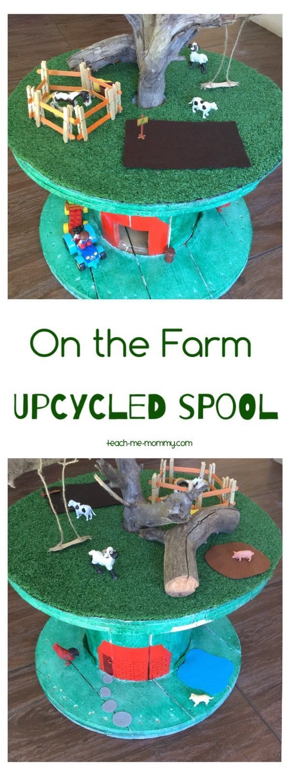 On the Farm Upcycled Spool Another great upcycled spool idea: On the Farm Small World! Your kids will have hours of fun!