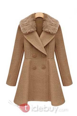 取り外し可能 毛皮の襟ロングスリーブトレンチコート