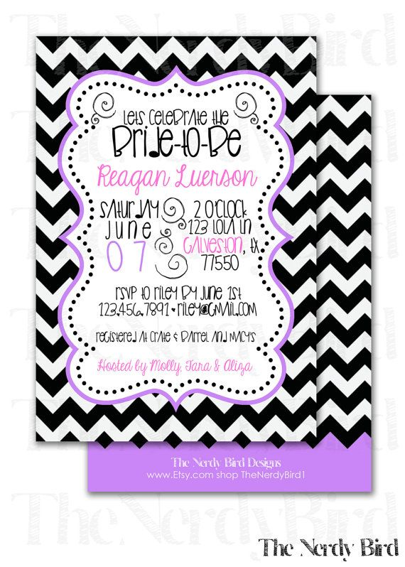 Black and White Chevron Pink and Purple Bridal Shower Invitation Design by TheNerdyBird1, $15.00