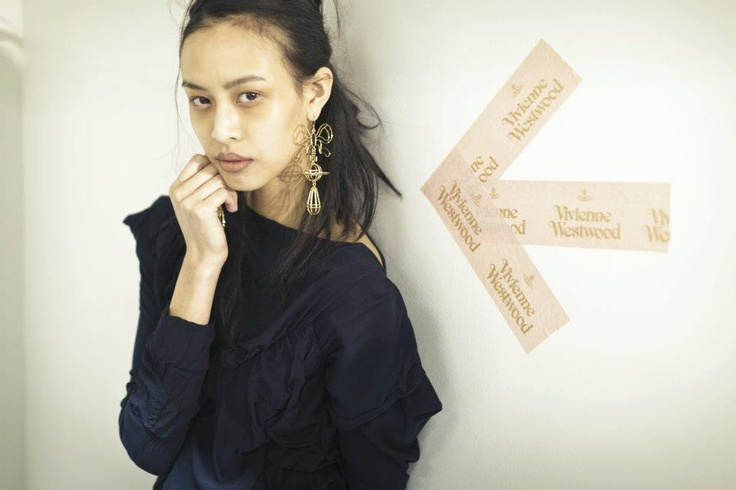 Backstage at Vivienne Westwood Autumn/Winter 2012-13. How fantastic are those earrings!