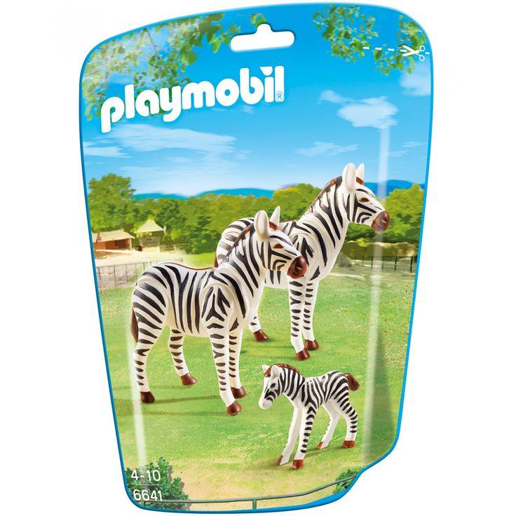 Playmobil Familia de Cebras; set de juego con cebras; incluye mamá papá y cebra bebé.