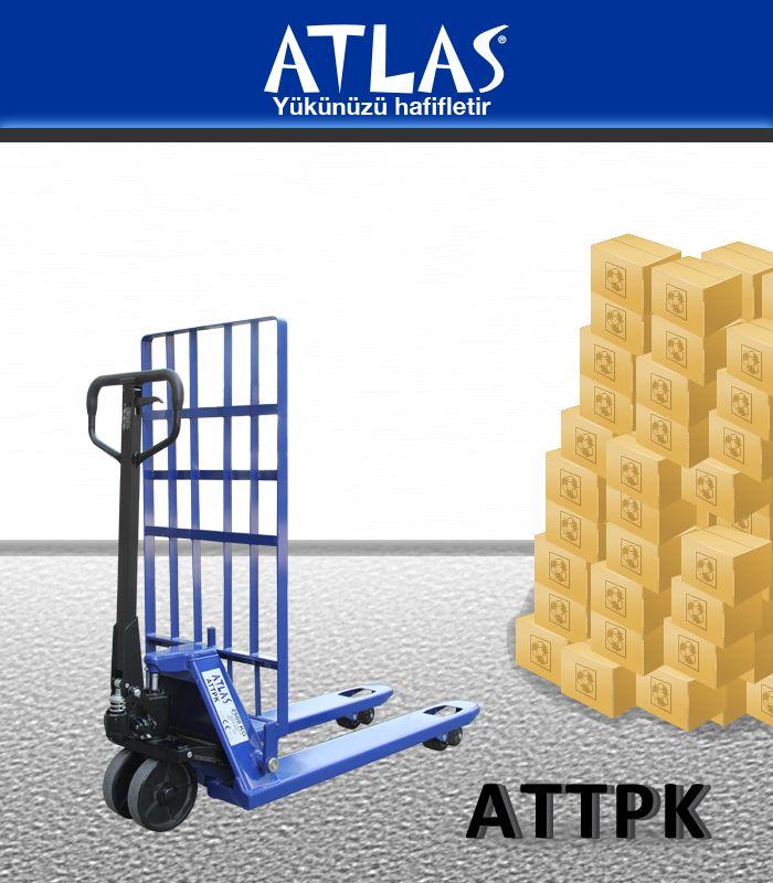Transpalet 2.5 ton taşıma kapasiteli ATLAS ATTPK modeli. Transpalet çoklu taşıma ve büyük ebatlı yüklerin kolay taşınması için arka destek-koruma paneline sahip transpalettir. http://www.ozkardeslermakina.com/urun/arka-destek-panelli-transpalet-atlas-attpk/ #atlas #transpalet #destek #paket #koruma