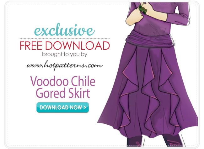 Voodoo Chile Gored Skirt Pattern Download - free pattern from fabric.com and hotpatterns.com