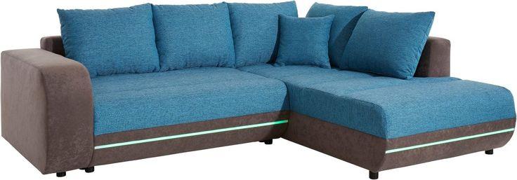 Ecksofa grau, Ottomane rechts, Mit Bettfunktion und RGB-LED Beleuchtung, Energieeffizienzklasse: A, inklusive loser Zier- und Rückenkissen, FSC®-zertifiziert, yourhome Jetzt bestellen unter: https://moebel.ladendirekt.de/wohnzimmer/sofas/ecksofas-eckcouches/?uid=7f5faeea-5d1d-57f2-8f1e-f2e61caf54b1&utm_source=pinterest&utm_medium=pin&utm_campaign=boards #sofas #ecksofa #wohnzimmer #ecksofaseckcouches