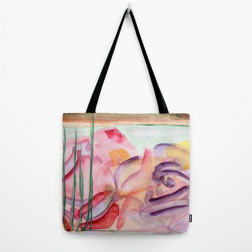 Chic tote bag with floral fine art print. Colorful by studioRS