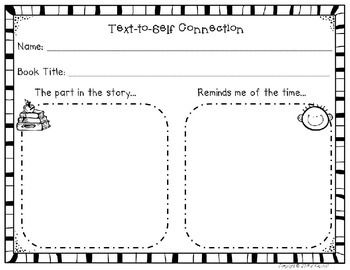 This page is perfect for students to record their text-to-self connections.  Enjoy!  If you like it check out my Reading Group Comprehension Pack!' http://www.teacherspayteachers.com/Product/Reading-Group-Comprehension-Pack-Kindergarten-164158