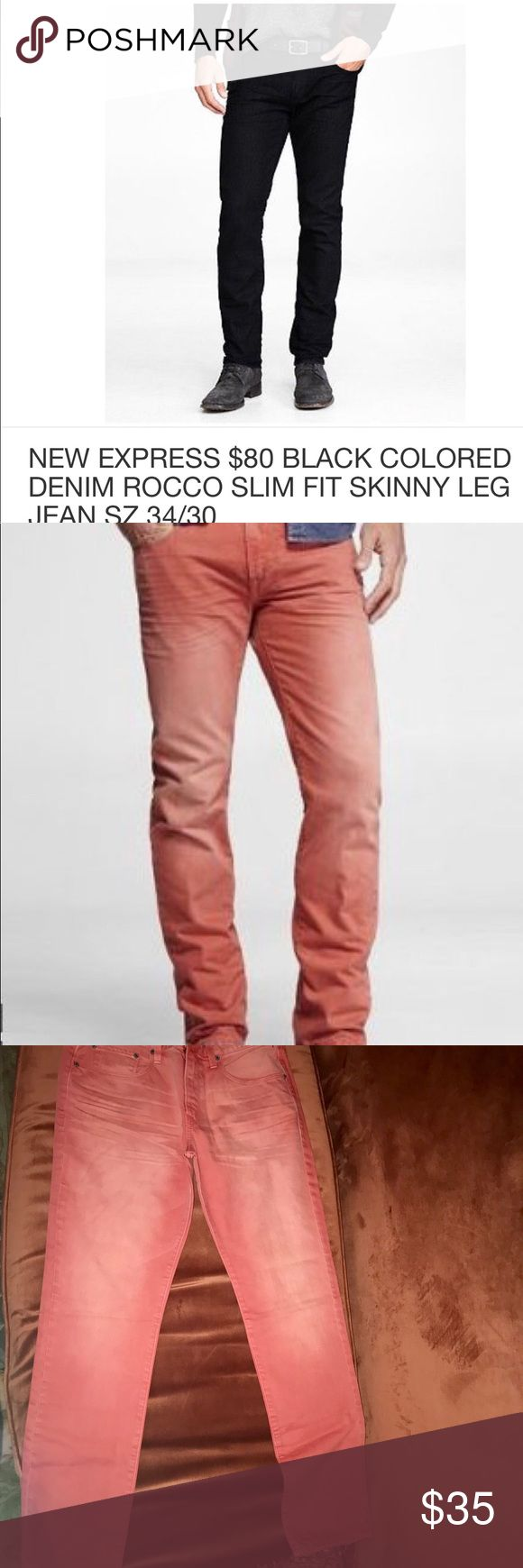 Express Men Rocco Jeans 32x34 in Coral Express Men Jeans Brand New Size: 32 x 34 Style: Rocco Fit: Skinny Leg Precision Fit Color: Coral Original Retail Price $80 Being sold for $50 + shipping Express Jeans Skinny