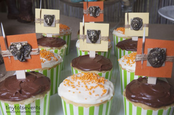 Safari birthday cupcakes - Tiny Tots Events - Melbourne's Little People Parties specialist