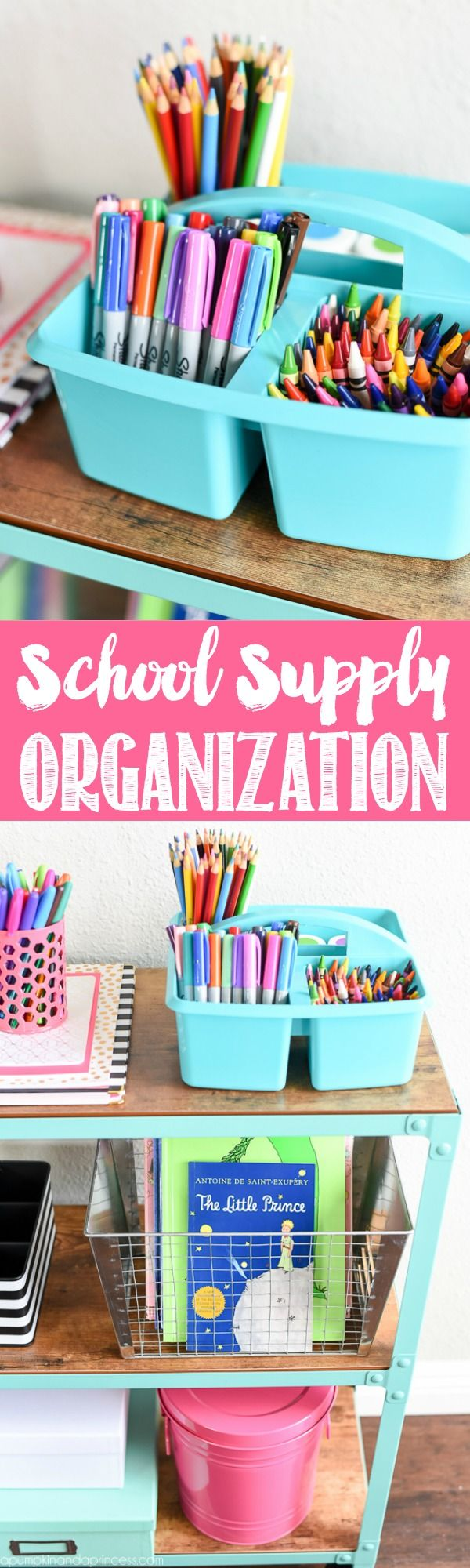 School Supply Organization Cart from MichaelsMakers  A Pumpkin And A Princess - easy organization ideas for art and school supplies