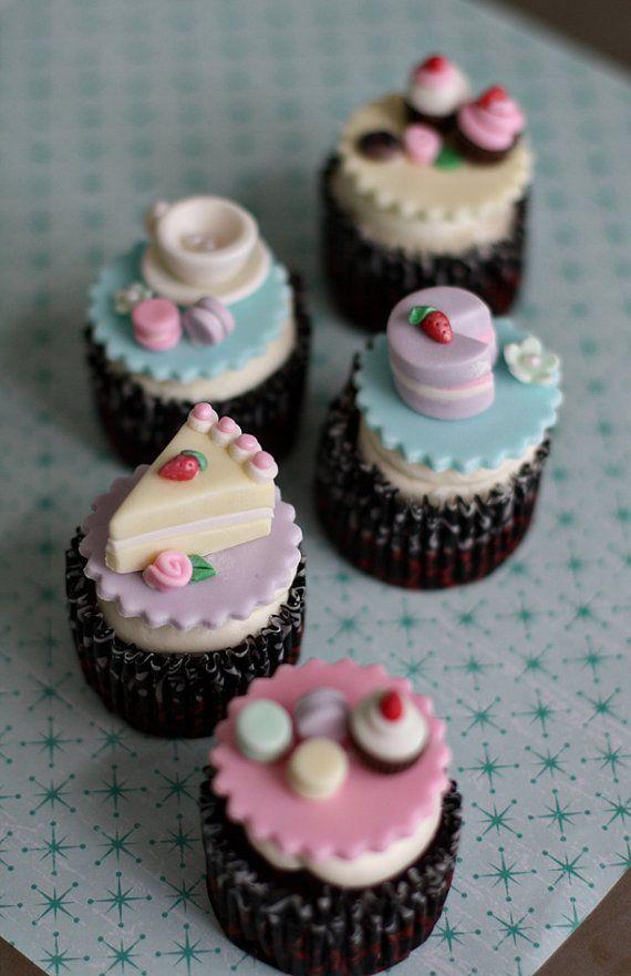 Fondant Tea Party Toppers with Teapot, Teacups, Macaroons, Cupcakes, Cookies  http://www.amazon.de/dp/B011TOV27K