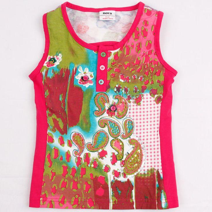 Розничная 4 / 8y дети для девочки майка без рукавов нова бренда дети дети футболку хлопок зеленый одежда для девочек