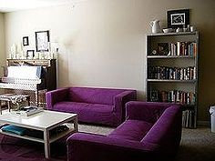 rit dyeing ikea slip covered sofa klippan, crafts, reupholster, window treatments, RIT dyed purple IKEA sofas
