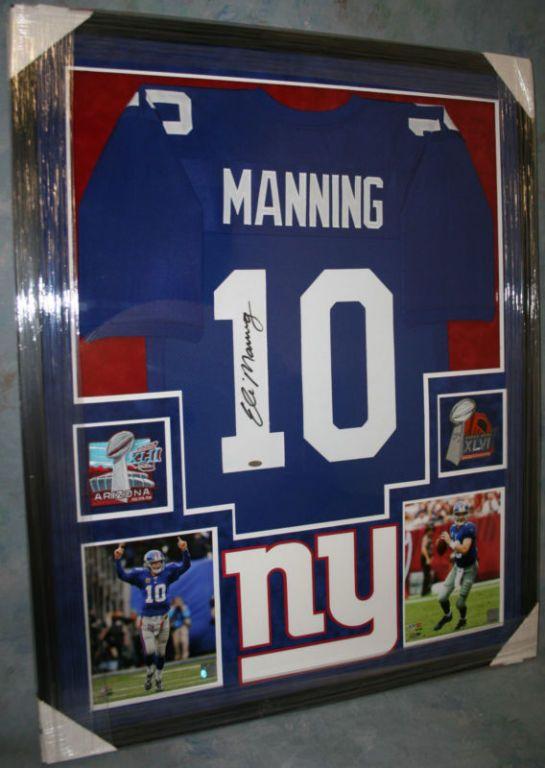 ELI MANNING Framed NEW YORK GIANTS Jersey Autograph COA Steiner Sport