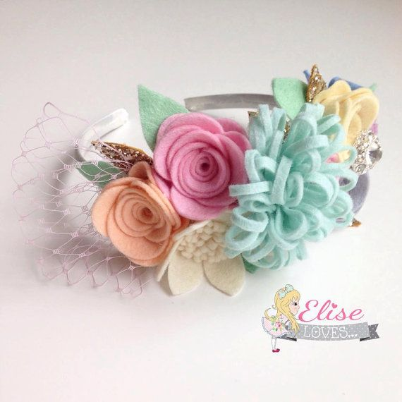 Felt Flower Crown Aliceband by EliseLoves on Etsy
